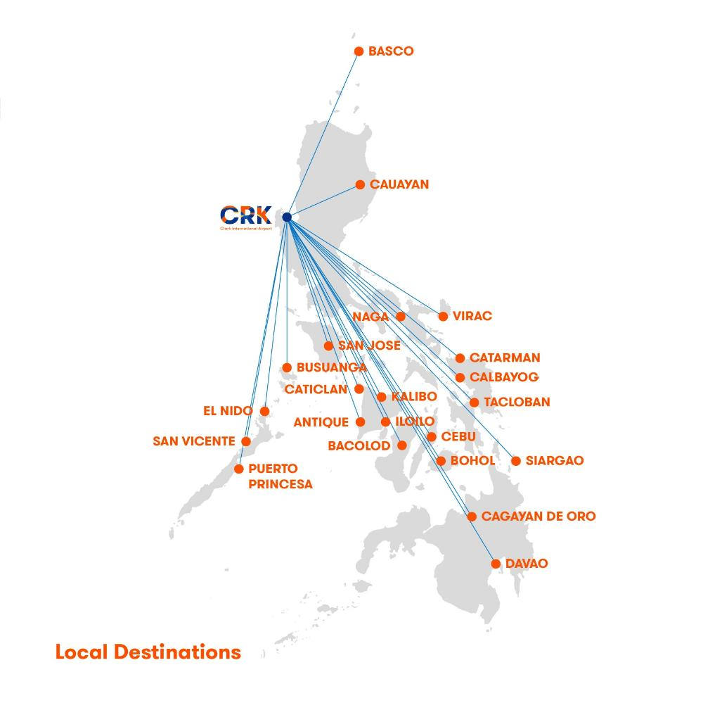 clark airport destinations local